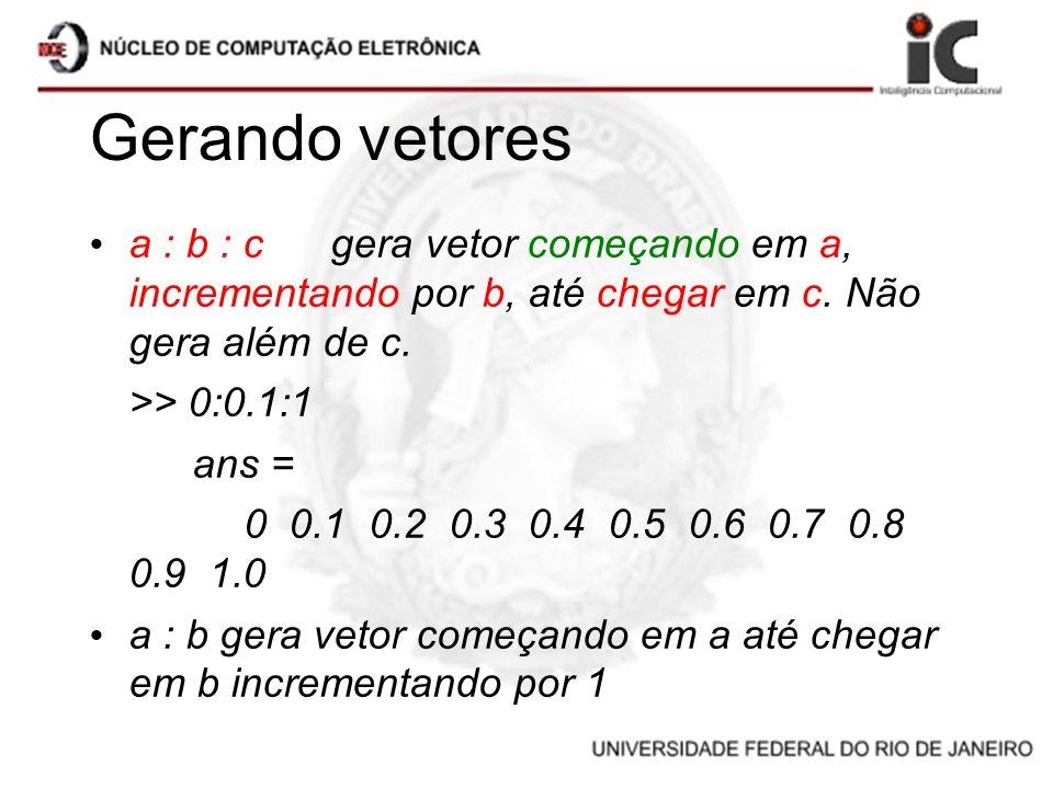 Gerando vetores a : b : c gera vetor começando em a, incrementando por b, até chegar em c. Não gera além de c.