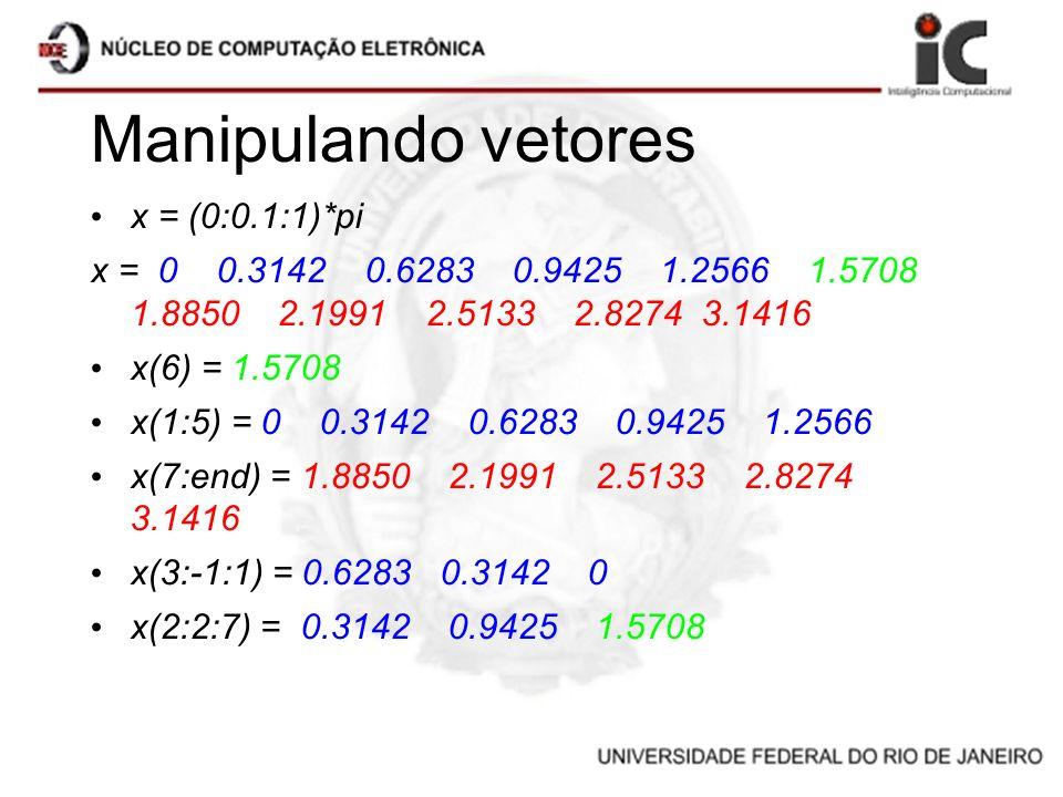 Manipulando vetores x = (0:0.1:1)*pi