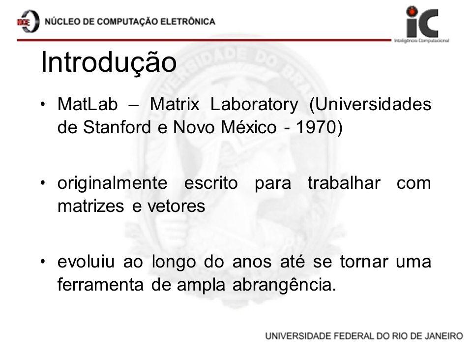 Introdução MatLab – Matrix Laboratory (Universidades de Stanford e Novo México - 1970) originalmente escrito para trabalhar com matrizes e vetores.