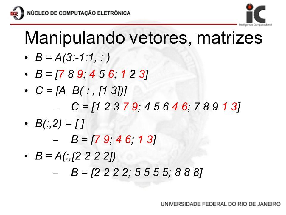 Manipulando vetores, matrizes