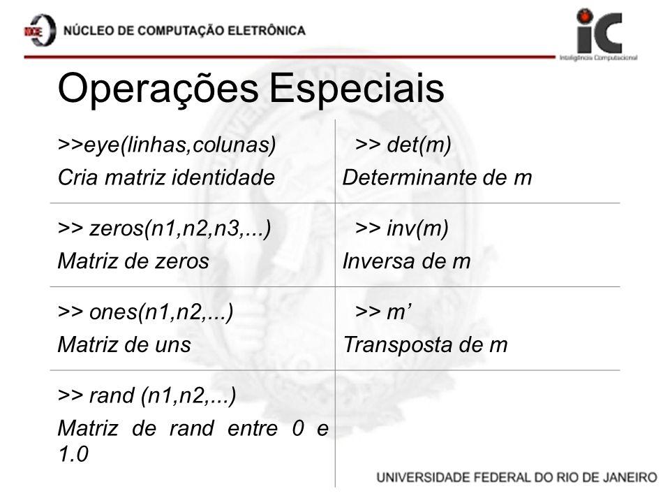 Operações Especiais >>eye(linhas,colunas) Cria matriz identidade