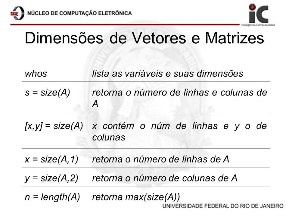 Dimensões de Vetores e Matrizes