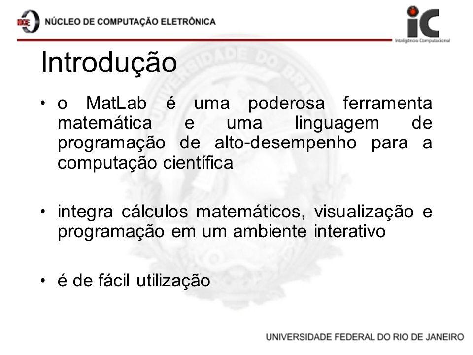 Introdução o MatLab é uma poderosa ferramenta matemática e uma linguagem de programação de alto-desempenho para a computação científica.