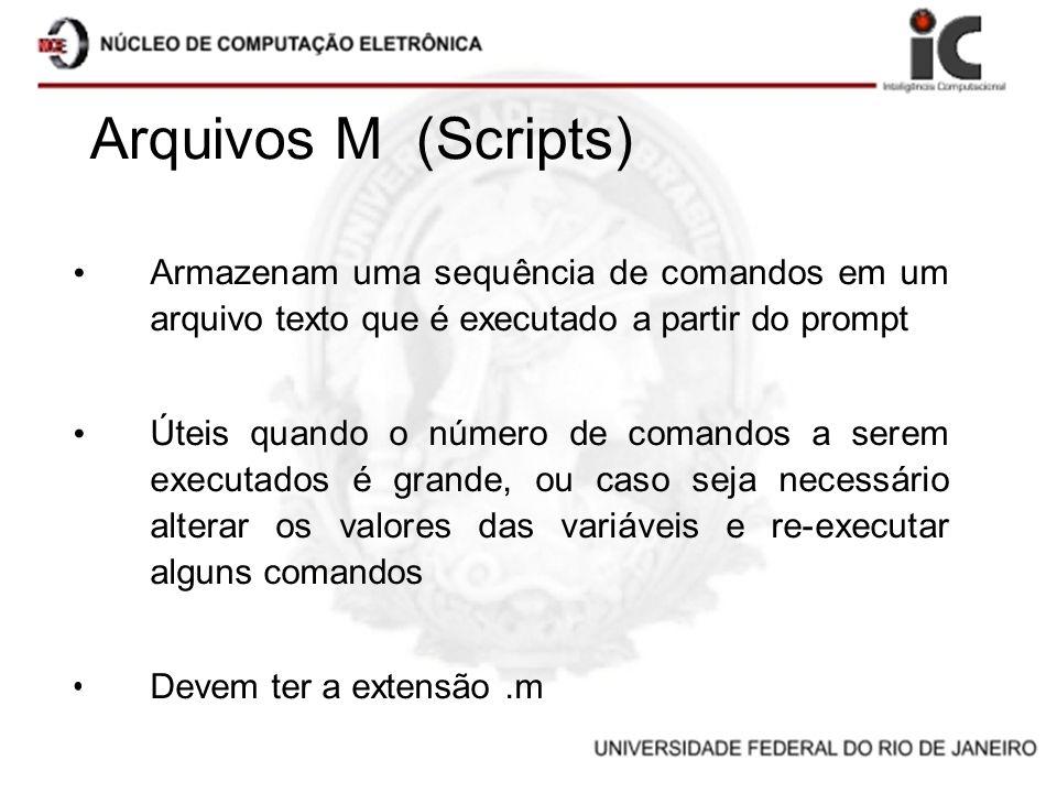 Arquivos M (Scripts) Armazenam uma sequência de comandos em um arquivo texto que é executado a partir do prompt.