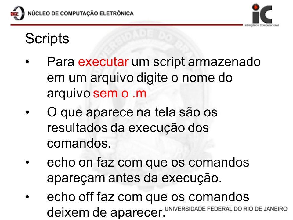Scripts Para executar um script armazenado em um arquivo digite o nome do arquivo sem o .m.