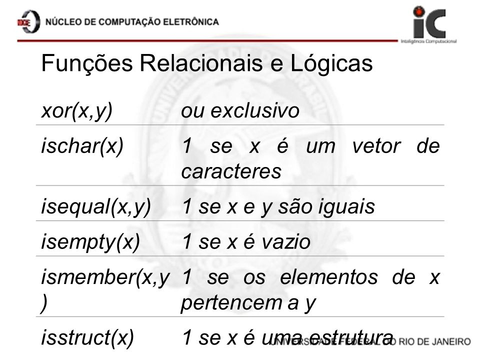 Funções Relacionais e Lógicas