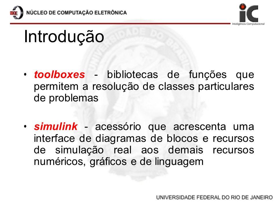 Introdução toolboxes - bibliotecas de funções que permitem a resolução de classes particulares de problemas.
