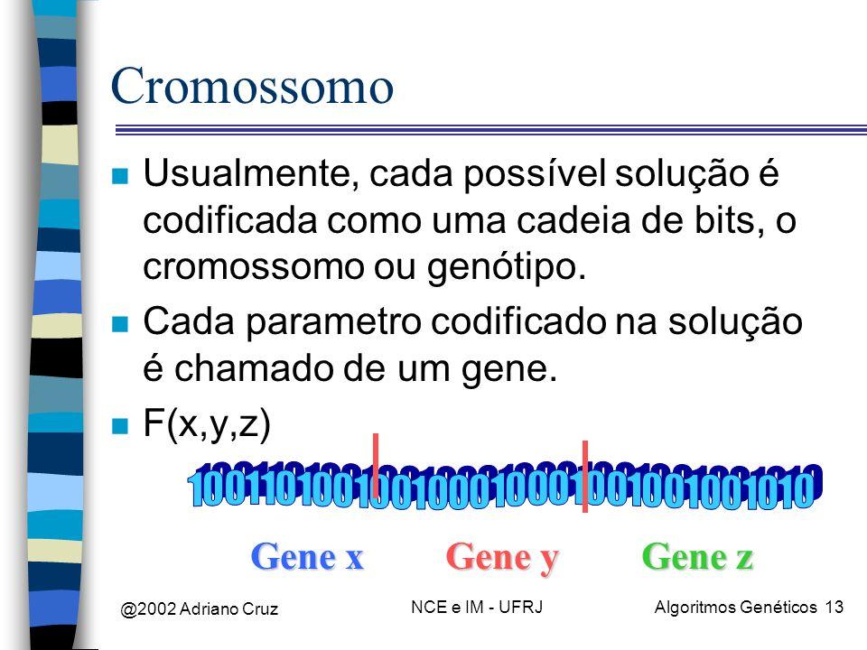 CromossomoUsualmente, cada possível solução é codificada como uma cadeia de bits, o cromossomo ou genótipo.