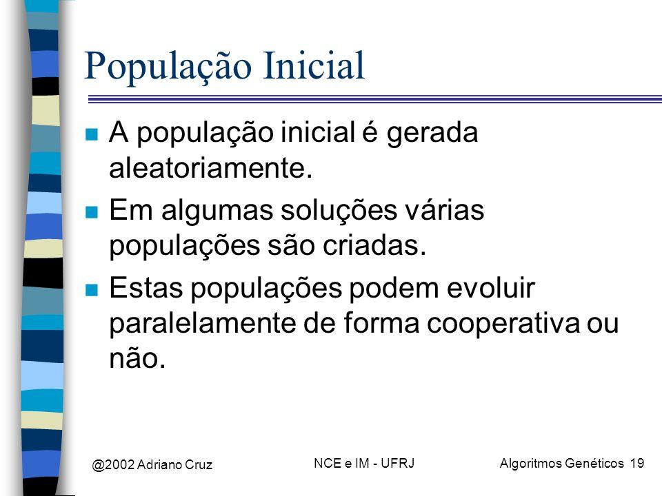 População Inicial A população inicial é gerada aleatoriamente.