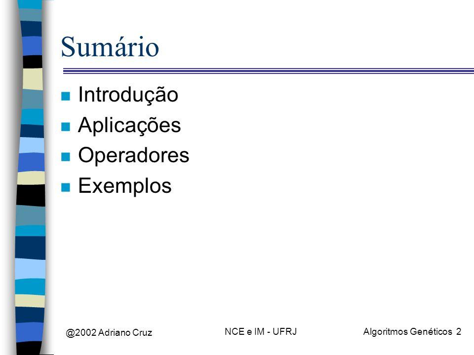 Sumário Introdução Aplicações Operadores Exemplos @2002 Adriano Cruz