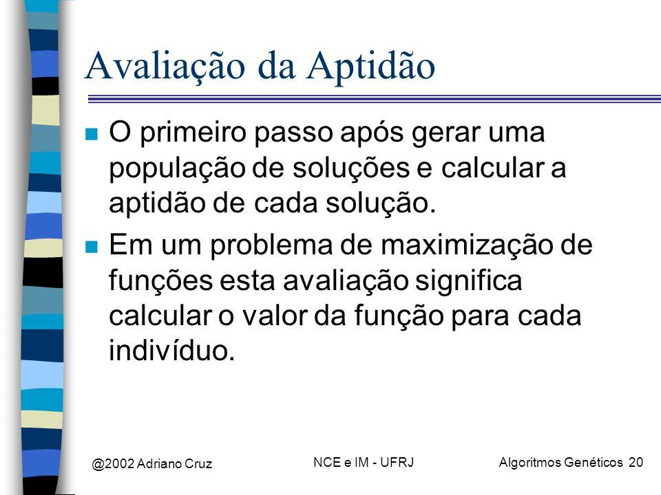Avaliação da AptidãoO primeiro passo após gerar uma população de soluções e calcular a aptidão de cada solução.