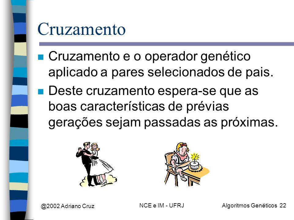 Cruzamento Cruzamento e o operador genético aplicado a pares selecionados de pais.