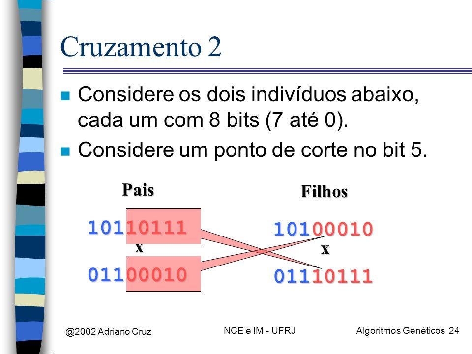 Cruzamento 2 Considere os dois indivíduos abaixo, cada um com 8 bits (7 até 0). Considere um ponto de corte no bit 5.