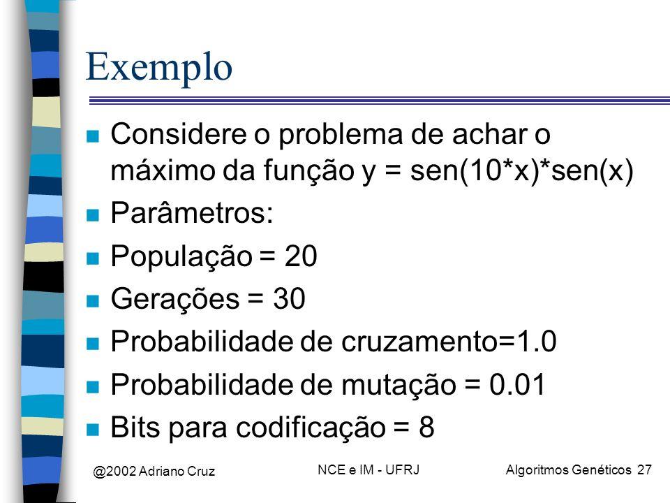 Exemplo Considere o problema de achar o máximo da função y = sen(10*x)*sen(x) Parâmetros: População = 20.