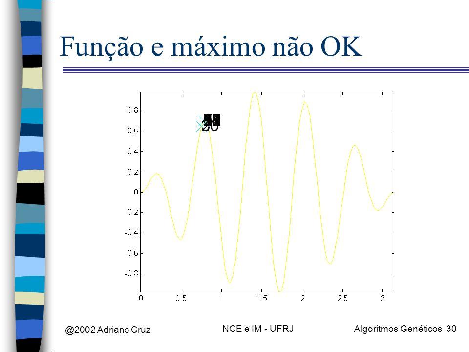 Função e máximo não OK @2002 Adriano Cruz NCE e IM - UFRJ