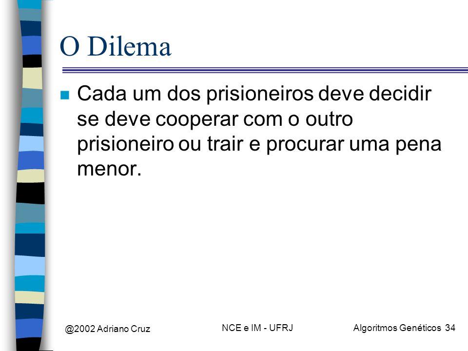 O DilemaCada um dos prisioneiros deve decidir se deve cooperar com o outro prisioneiro ou trair e procurar uma pena menor.