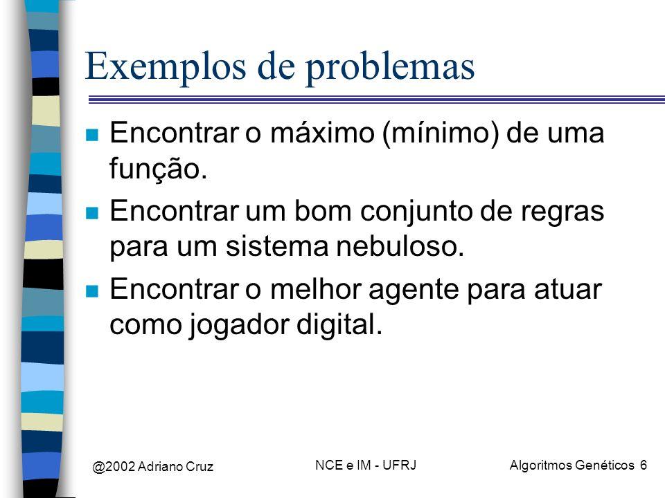 Exemplos de problemas Encontrar o máximo (mínimo) de uma função.