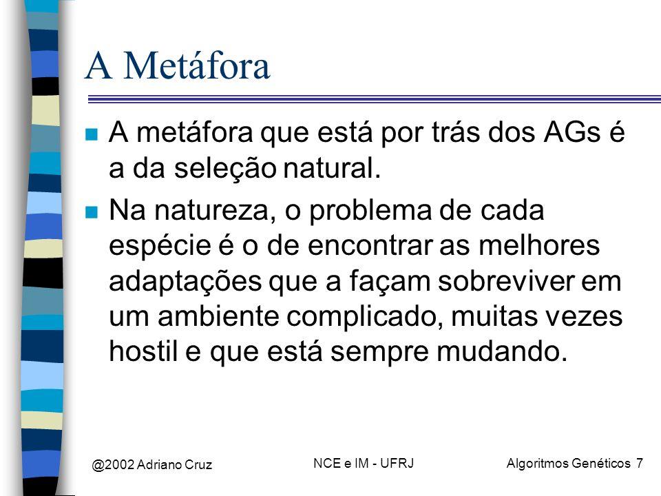 A Metáfora A metáfora que está por trás dos AGs é a da seleção natural.