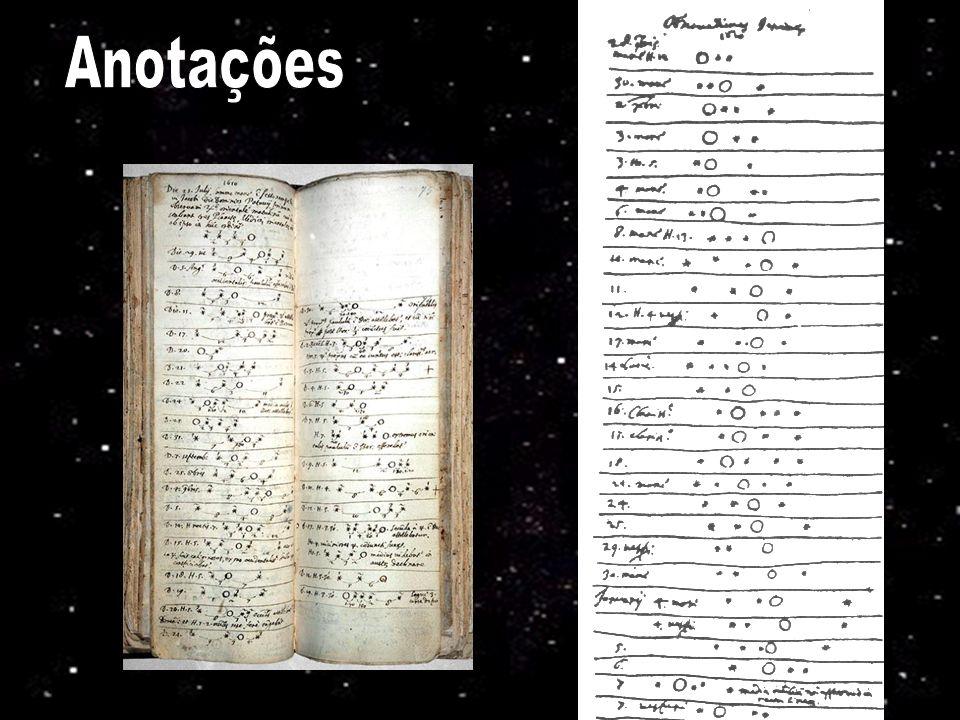 Anotações Anotações de Galileu relatando suas observações das luas de Júpiter. 12