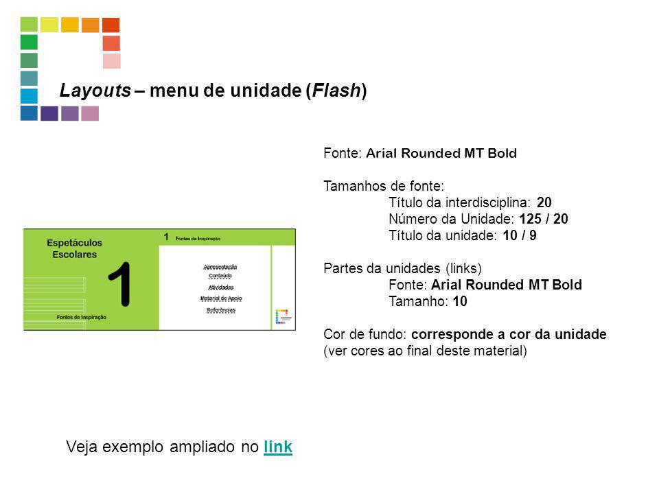 Layouts – menu de unidade (Flash)