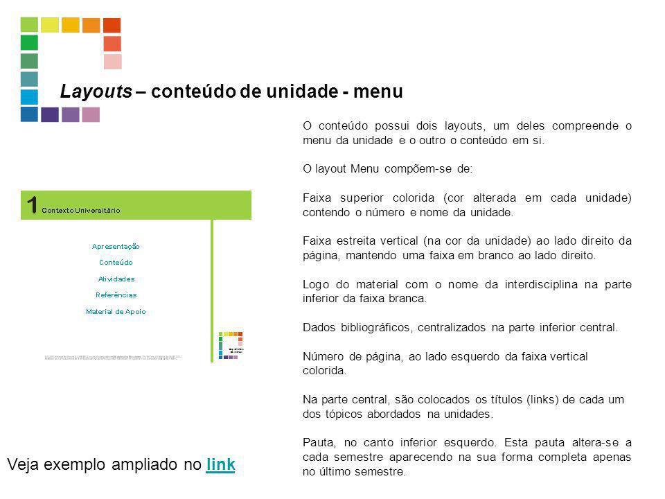 Layouts – conteúdo de unidade - menu