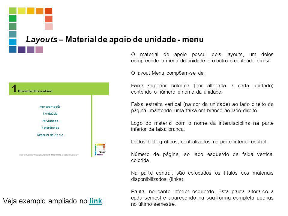 Layouts – Material de apoio de unidade - menu