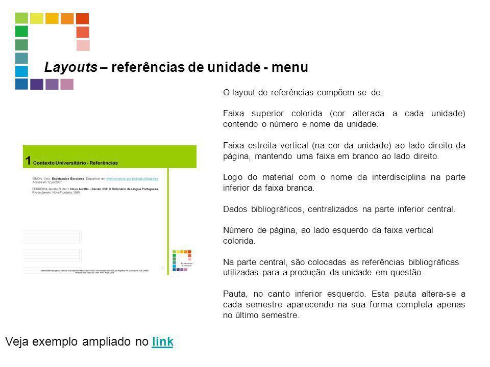 Layouts – referências de unidade - menu