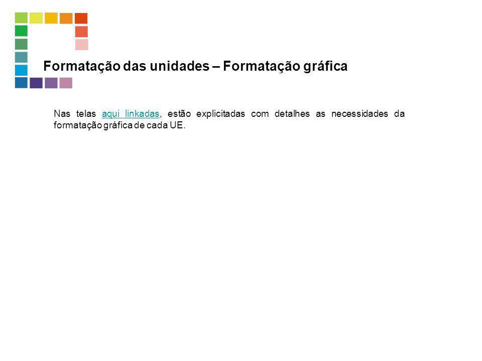 Formatação das unidades – Formatação gráfica