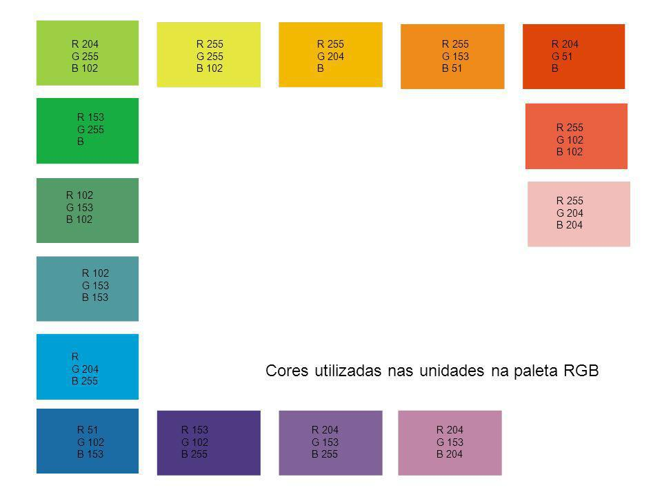 Cores utilizadas nas unidades na paleta RGB