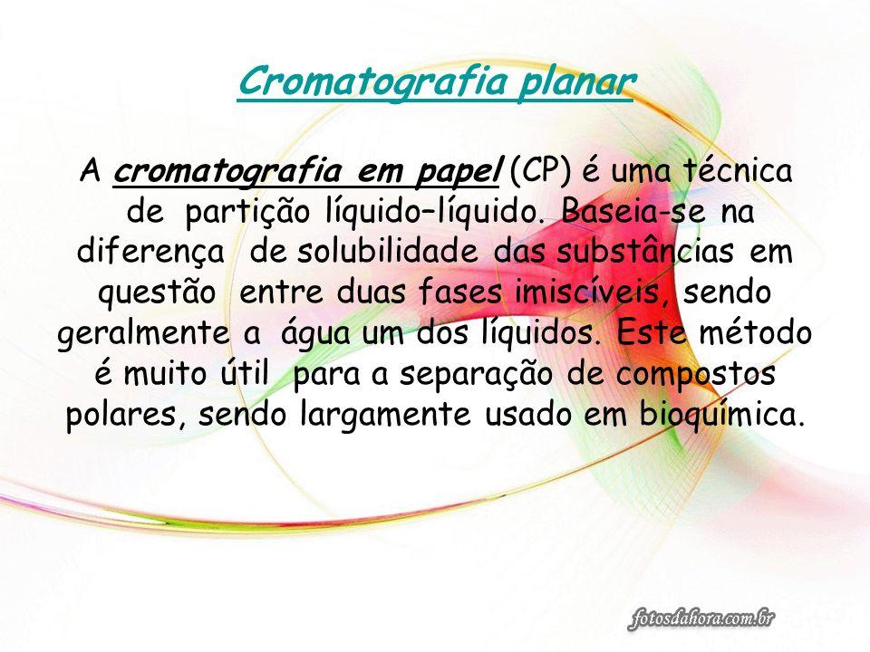 Cromatografia planar A cromatografia em papel (CP) é uma técnica