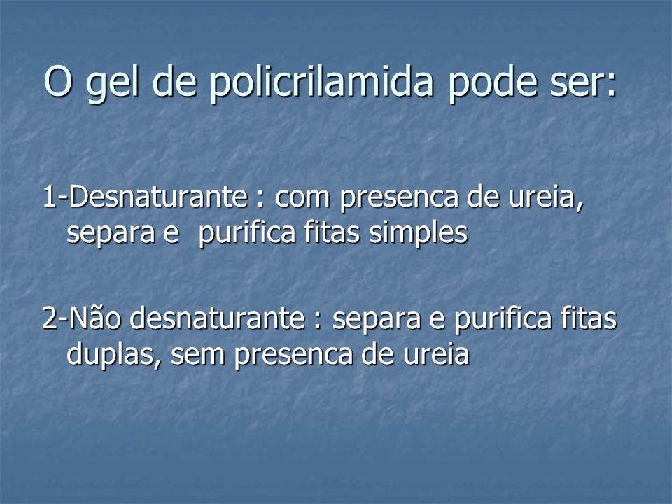 O gel de policrilamida pode ser: