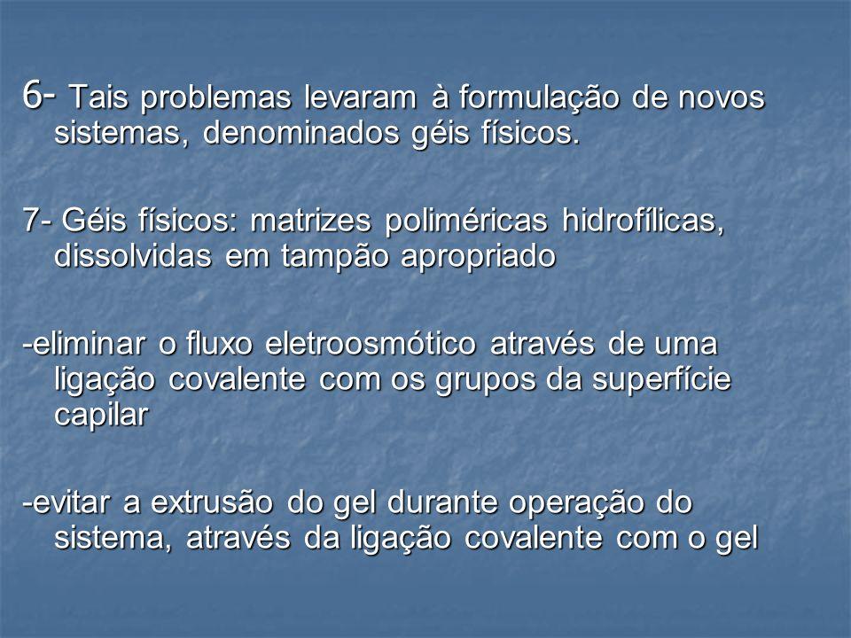 6- Tais problemas levaram à formulação de novos sistemas, denominados géis físicos.