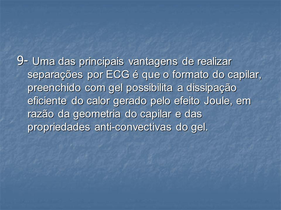 9- Uma das principais vantagens de realizar separações por ECG é que o formato do capilar, preenchido com gel possibilita a dissipação eficiente do calor gerado pelo efeito Joule, em razão da geometria do capilar e das propriedades anti-convectivas do gel.