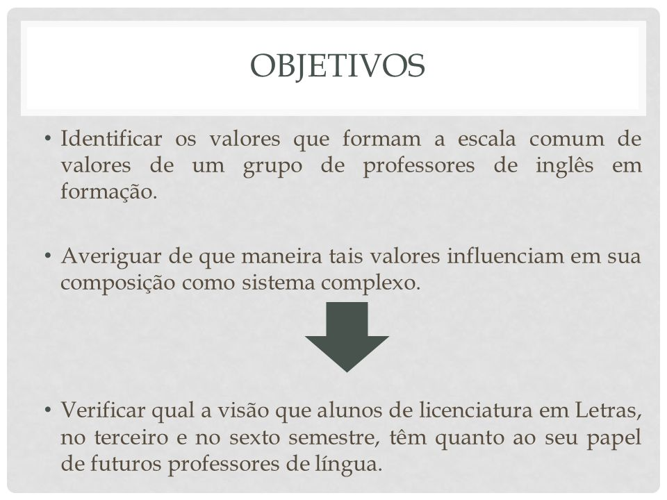 Objetivos Identificar os valores que formam a escala comum de valores de um grupo de professores de inglês em formação.