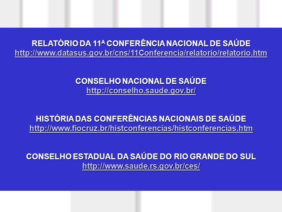 RELATÓRIO DA 11A CONFERÊNCIA NACIONAL DE SAÚDE