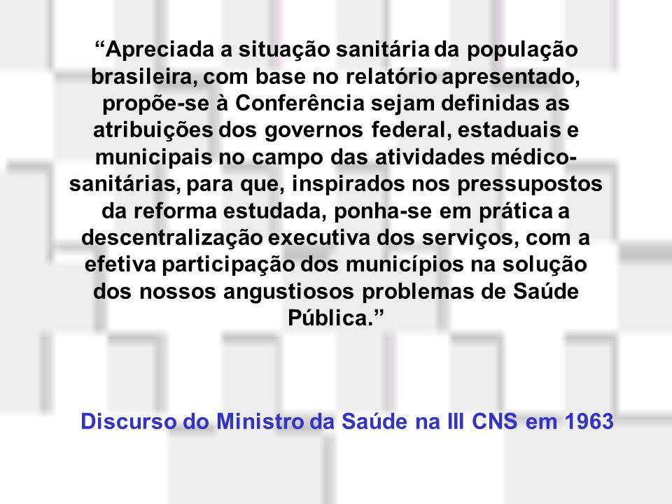 Discurso do Ministro da Saúde na III CNS em 1963
