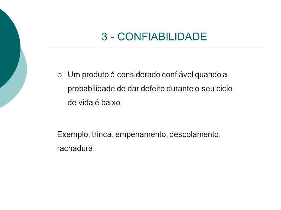 3 - CONFIABILIDADE Um produto é considerado confiável quando a probabilidade de dar defeito durante o seu ciclo de vida é baixo.