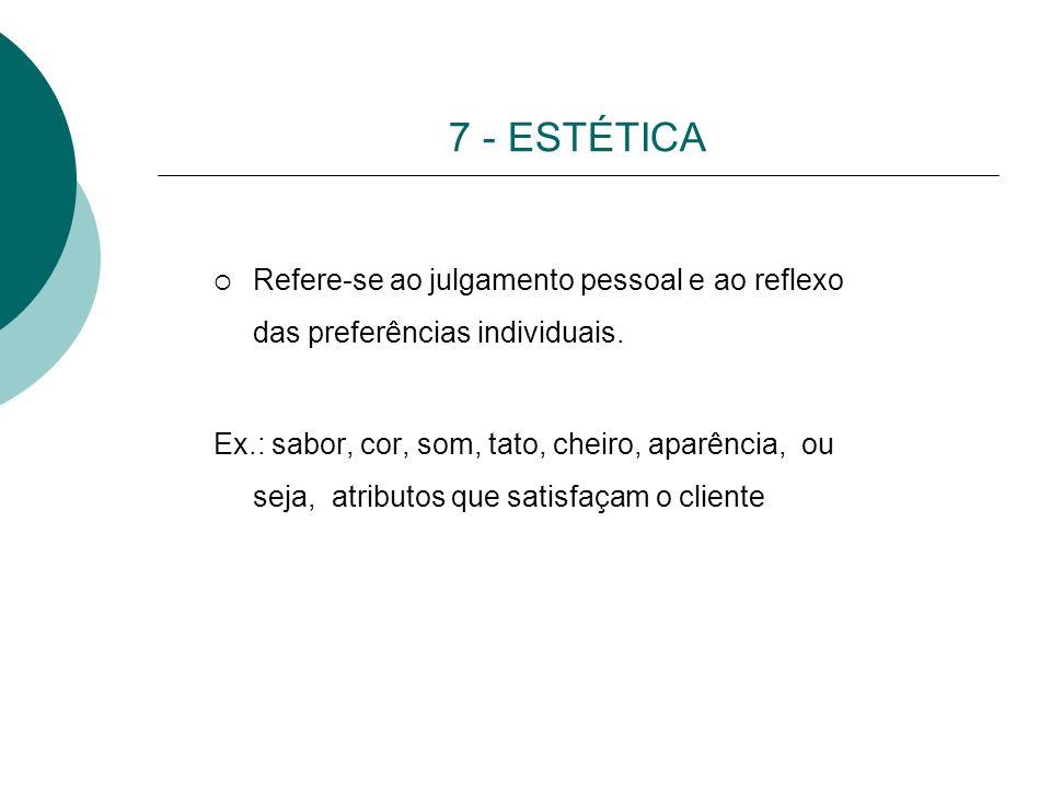 7 - ESTÉTICA Refere-se ao julgamento pessoal e ao reflexo das preferências individuais.