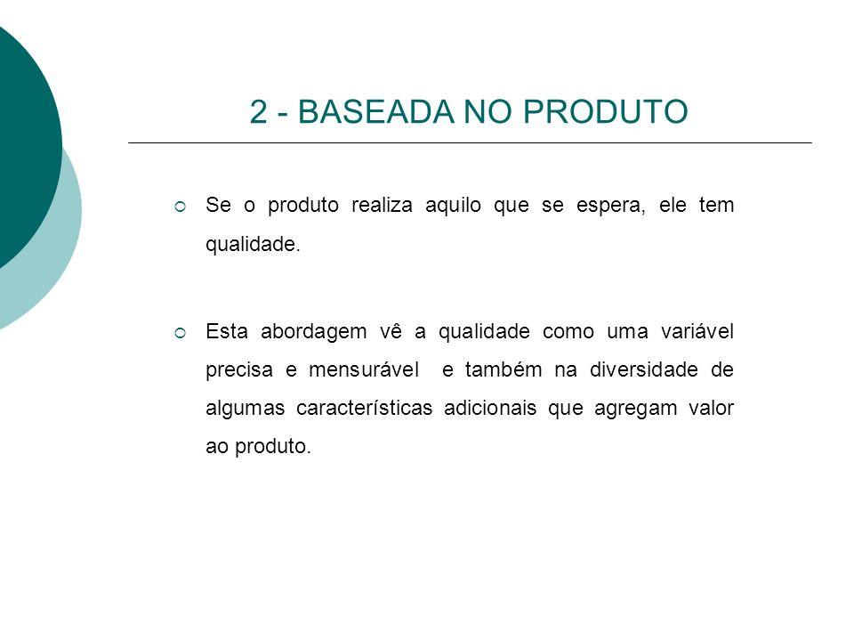 2 - BASEADA NO PRODUTO Se o produto realiza aquilo que se espera, ele tem qualidade.
