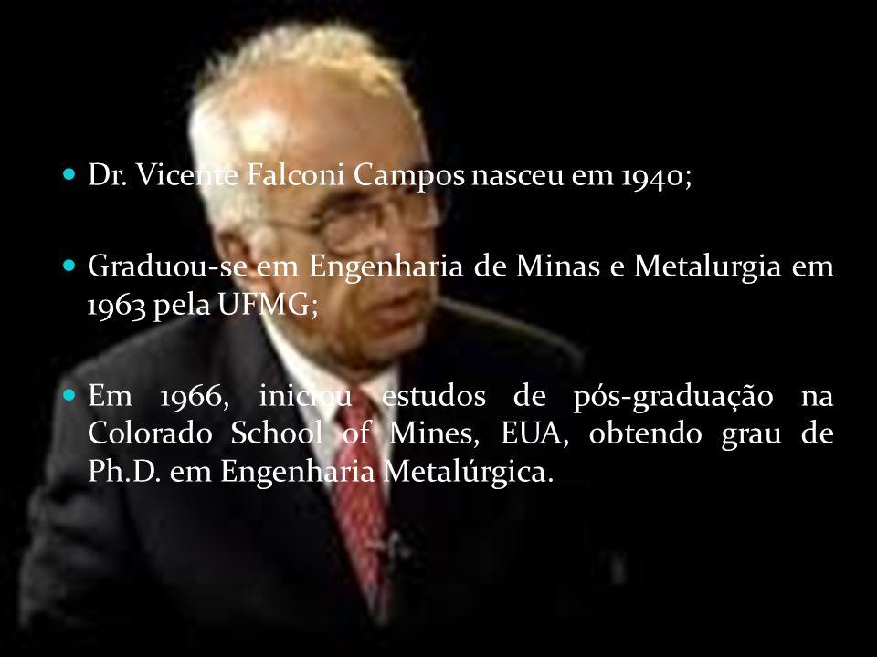BIOGRAFIA Dr. Vicente Falconi Campos nasceu em 1940;