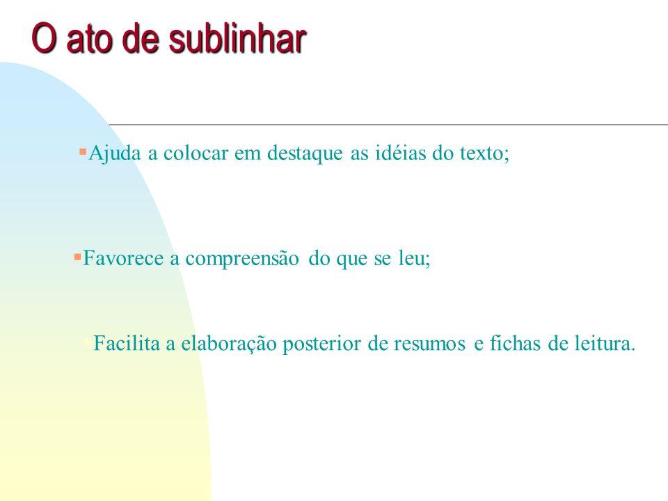 O ato de sublinhar Ajuda a colocar em destaque as idéias do texto;