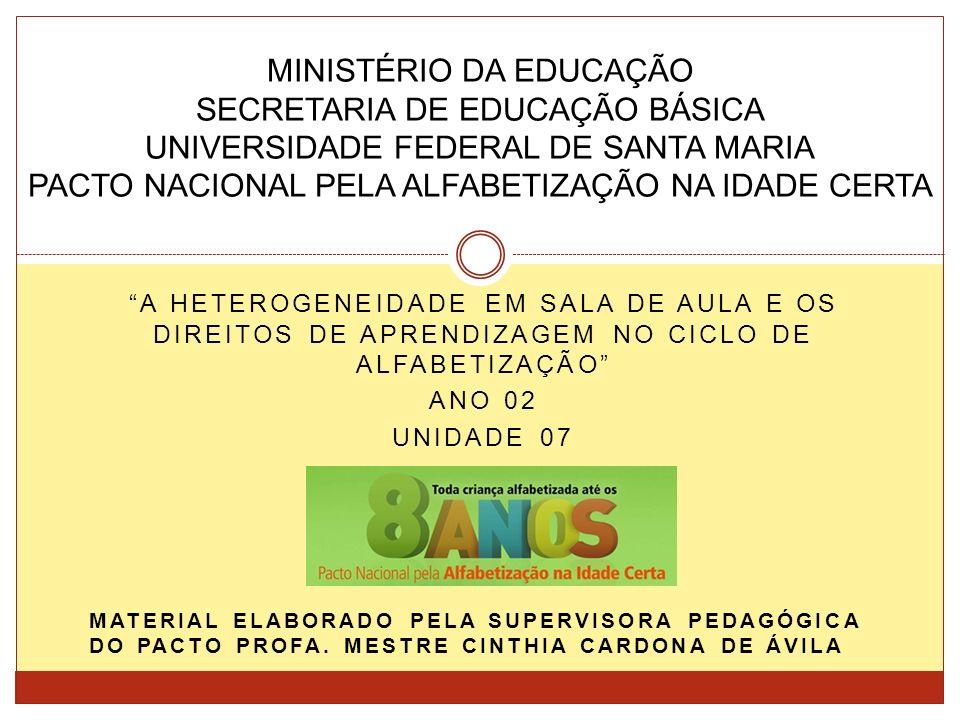 MINISTÉRIO DA EDUCAÇÃO SECRETARIA DE EDUCAÇÃO BÁSICA UNIVERSIDADE FEDERAL DE SANTA MARIA PACTO NACIONAL PELA ALFABETIZAÇÃO NA IDADE CERTA