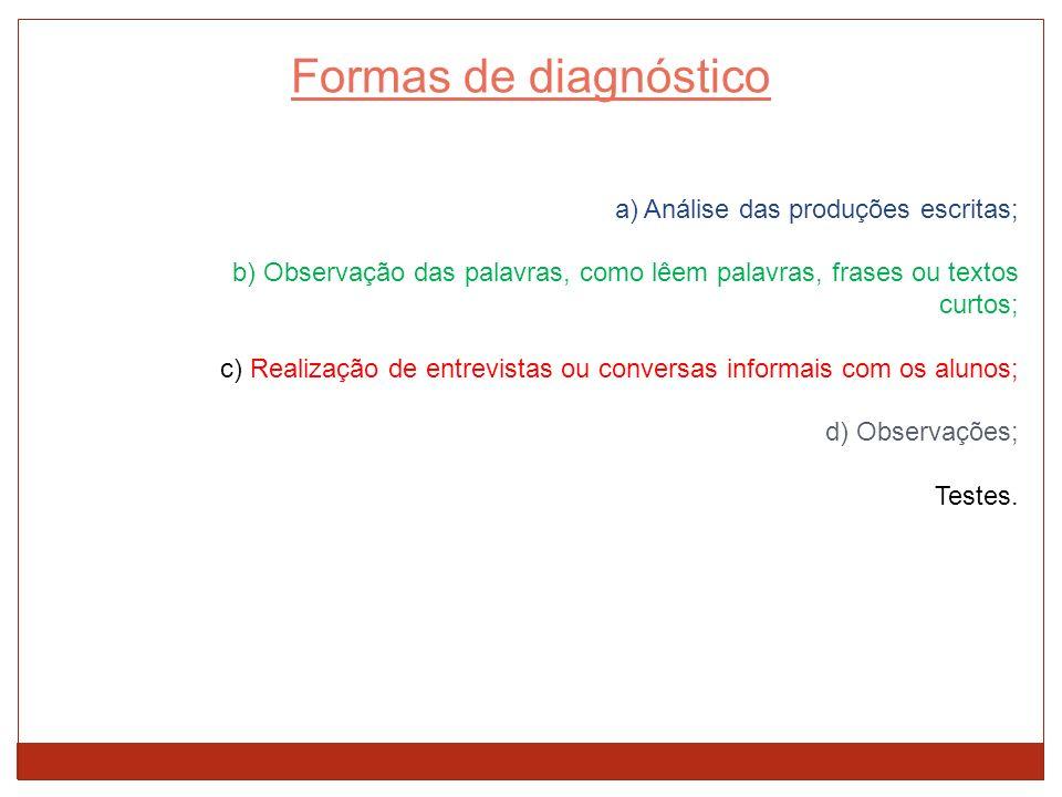 Formas de diagnóstico a) Análise das produções escritas;