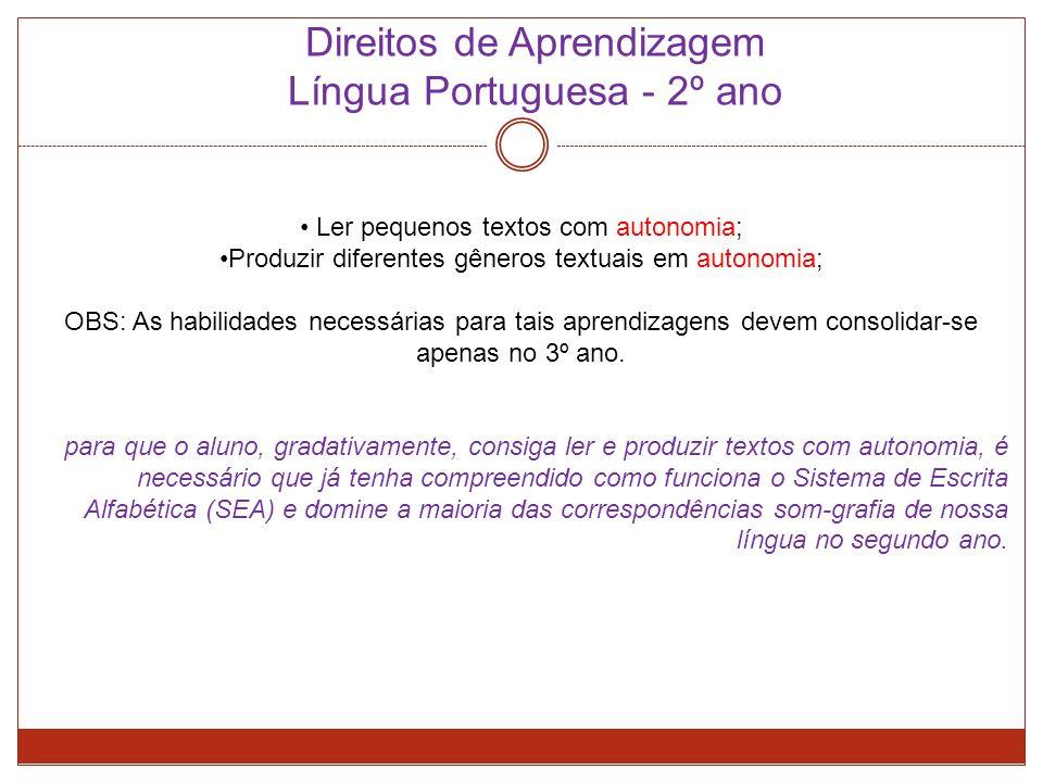 Direitos de Aprendizagem Língua Portuguesa - 2º ano