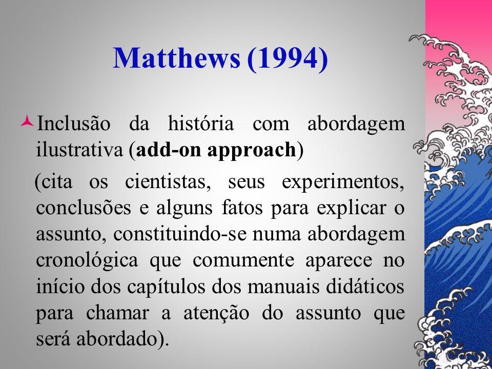 Matthews (1994)Inclusão da história com abordagem ilustrativa (add-on approach)