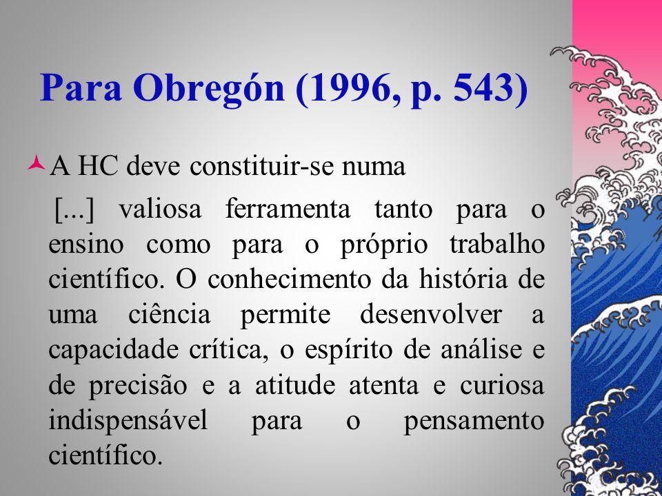 Para Obregón (1996, p. 543) A HC deve constituir-se numa