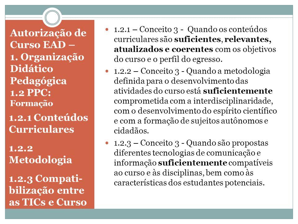 1.2.1 Conteúdos Curriculares 1.2.2 Metodologia
