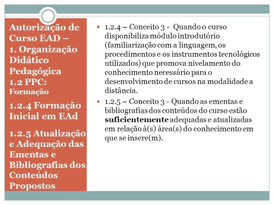 1.2.4 Formação Inicial em EAd