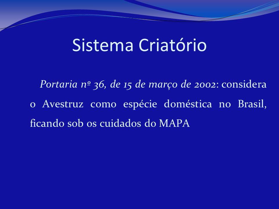 Sistema Criatório Portaria nº 36, de 15 de março de 2002: considera o Avestruz como espécie doméstica no Brasil, ficando sob os cuidados do MAPA.