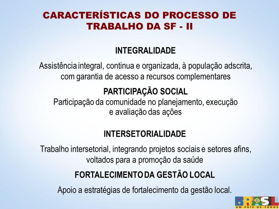 CARACTERÍSTICAS DO PROCESSO DE TRABALHO DA SF - II